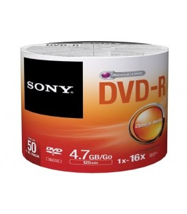 Sony 50DMR47PP - DVD-R 4.7 GB White Inkjet Printable Recordable Discs (Spindle Pack of 50)