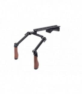 Wooden Camera 204000 - Shoulder Rig v2 (Premium, Brown Leather)