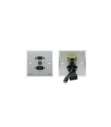 Kramer WXA-H/EU(B)-80 - Passive Wall Plate - 15-pin HD, 3.5mm Audio & HDMI - black