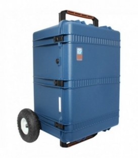 Portabrace PB-2850TBAORX - Hard Case Audio Cart with Off-Road Wheels, Blue