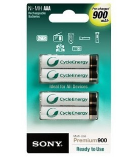 Sony NH-AAAB4GN - Rechargeable batterie AAA 900mAh x 4 pcs, Ready to use