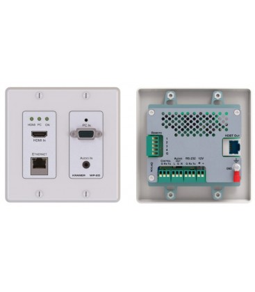 Kramer WP-20/EU(B)-80 - 4K60 4:2:0 HDMI & VGA Step-In PoE Wall-Plate Transmitter - Black