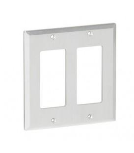 MuxLab 500919 - Brushed Aluminium Decora 2-Gang Front Plate