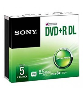 Sony 5DPR85SS - 5 Pack DVD+R, Double Layer, 8x, Slim Case