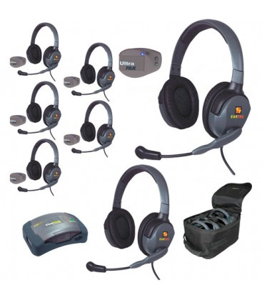 Eartec UPMX4GD7 - 1 HUB, 7 UltraPAK & 7 Max 4G Double Headsets