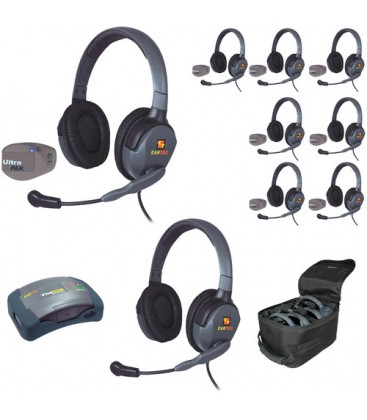 Eartec UPMX4GD9 - 1 HUB, 8 UltraPAK & 9 Max 4G Double Headsets