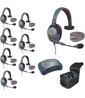 Eartec UPMX4GS8 - 1 HUB, 8 UltraPAK & 8 Max 4G Single Headsets