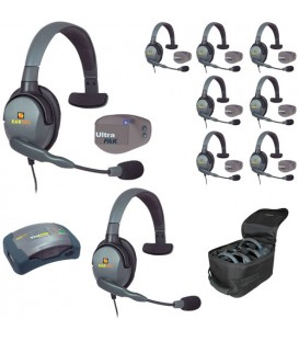 Eartec UPMX4GS9 - 1 HUB, 8 UltraPAK & 9 Max 4G Single Headsets
