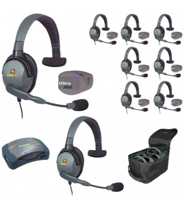 Eartec UPMX4GS9 - 1 HUB, 8 UltraPAK & 9 Max 4G Single Headsets